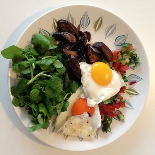 fried eggs, mushrooms, watercress